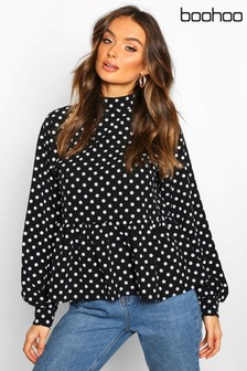 Boohoo Polka Dot High Neck Peplum Blouse