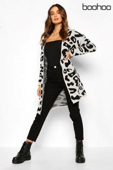 Boohoo Leopard Knitted Cardigan