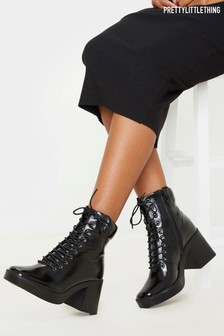PrettyLittleThing Square Toe Chunky Lace Up Ankle Boot