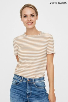 Vero Moda Ribbed Striped Short Sleeve T Shirt