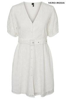 Vero Moda Broderie Belted Mini Dress