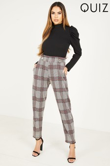 Quiz Check High Waist Tapered Trousers