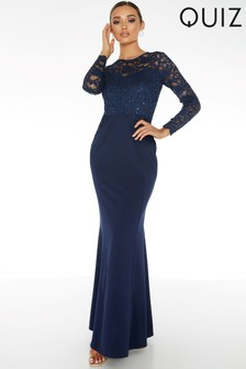 Quiz Sequin Lace Top Maxi Dress