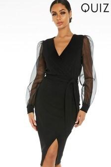 Quiz Puff Sleeves Wrap Midi Dress