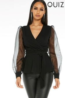 Quiz Puff Sleeves Wrap Peplum Blouse