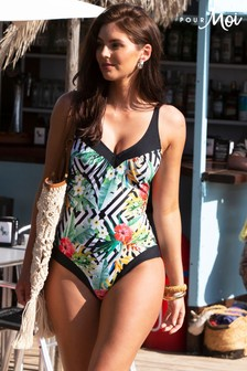 Pour Moi Jungle Geo Contour Control Swimsuit
