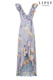 Lipsy Printed Satin Ruffle Maxi Dress