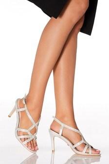 Quiz Diamanté Swirl Detail Heeled Sandals