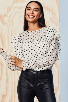 Dorothy Perkins Flock Spot Ruffle Long Sleeve Top