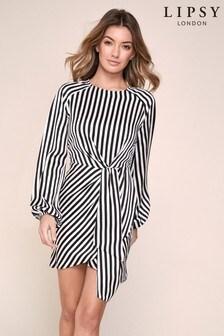 Lipsy Long Sleeve Drape Mini Dress
