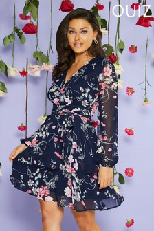 Quiz Floral Chiffon Sleeves Dress