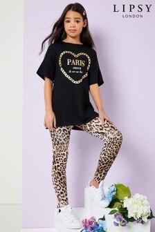 Lipsy Girl Top And Printed Legging Set