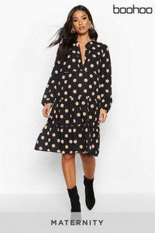 Maternity Polka Dot Woven Smock Dress