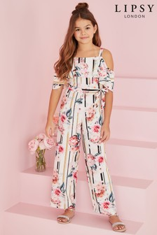 Lipsy Girl Chain Floral Cold Shoulder Jumpsuit