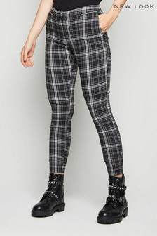 New Look Check Zip Skinny Trousers