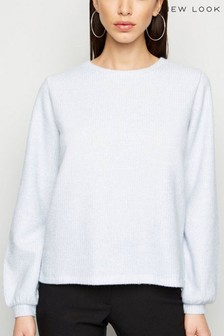 New Look Ribbed Balloon Sleeve Jumper