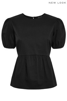 New Look Poplin Puff Sleeve Peplum Blouse