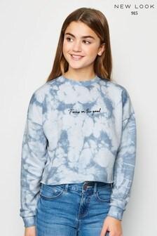 New Look Girls Tie Dye Slogan Sweatshirt