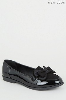 New Look Patent Bow Loafers