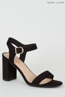 New Look Suedette Ankle Strap Block Sandals