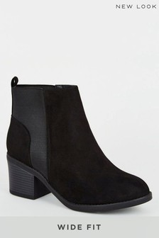 New Look Wide Fit Suedette Chelsea Boots