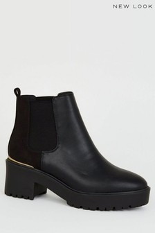 New Look Leather Look Chunky Chelsea Boots