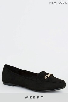 New Look Wide Fit Geometric Bar Loafers