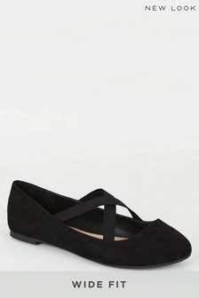 New Look Wide Fit Suedette Cross Strap Pumps