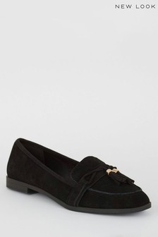 New Look Suede Tassel Trim Loafers