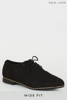 New Look Wide Fit Suedette Brogues