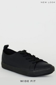 New Look Wide Fit Leather Look Lace Up Trainers