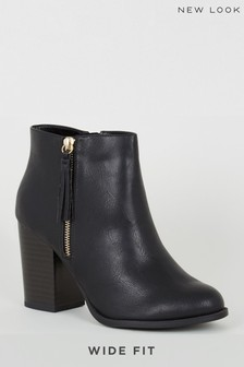 New Look Wide Fit Tassel Trim Block Heel Boots