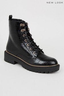 New Look Faux Croc Chunky Lace Up Boots