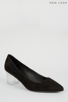 New Look Suedette Clear Block Court Shoes