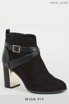 New Look Wide Fit Suedette Metal Block Heel Boots