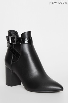 New Look Faux Leather Strappy Heel Court Boots
