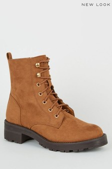 New Look Suedette Lace-Up Chunky Boots
