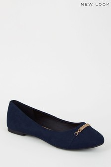 New Look Suedette Bar Front Ballet Pumps