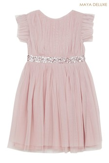 Maya Mini Sequin Belted Skater Dress