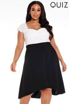 Quiz Curve Contrast Dip Hem Midi Dress