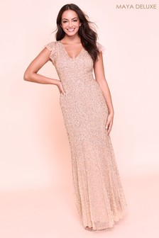 Maya Sequin V neck Cap Sleeve Maxi Dress