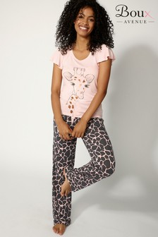 Boux Avenue Giraffe Frill Sleeves Long PJ Set
