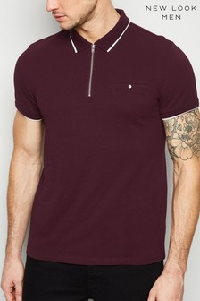 New Look Tipped Zip Front Polo T-Shirt
