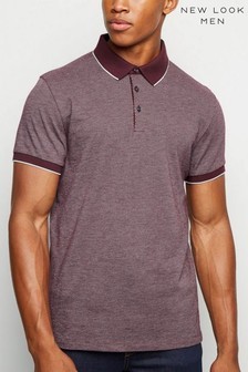 New Look Jacquard Tipped Polo T-Shirt