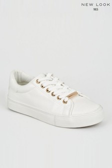 New Look Girls Leather Look Lace Up Trainers