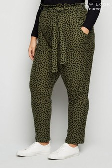 New Look Curves Animal Print Soft Touch Joggers