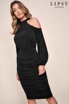 Lipsy Slinky Halter Cold Shoulder Dress