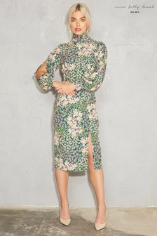 Never Fully Dressed Floral High Neck Midi Dress