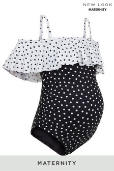New Look Maternity Contrast Spot Ruffle Swimsuit