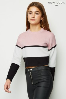 New Look Girls Colour Block Crop Jumper